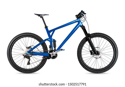 blue enduro carbon all mountain bike with full supsension and aluminum wheels. fully mountainbike for offroad bicycle extreme sport isolated on white background