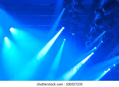 blue entertainment lights with fog, detail photo