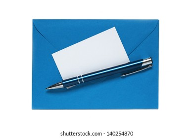 blue envelope with pen and blank note card isolated on white background