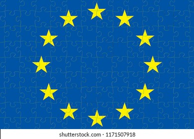 blue european union EU flag puzzle with puzzle pieces , vote for exit from europe concept