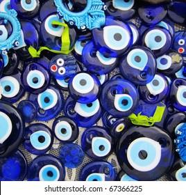 Blue Evil Eye Charms Sold at Bazaar or Market in Turkey