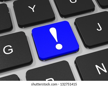 Blue Exclamation mark key on keyboard of laptop computer. 3D illustration.