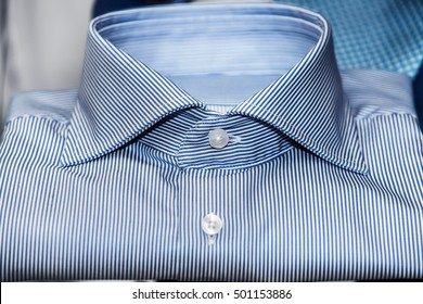 blue expensive shirt in blue stripes