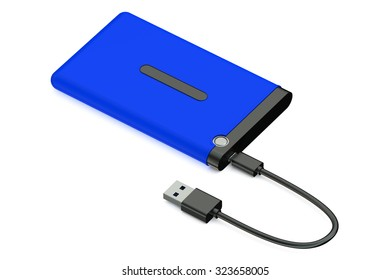 Blue External HDD isolated on white background