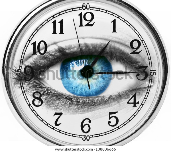 Blue eye with clock isolated on white