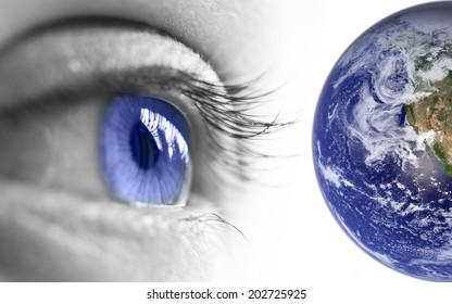 Blue eye and earth, elements of this image are furnished by NASA
