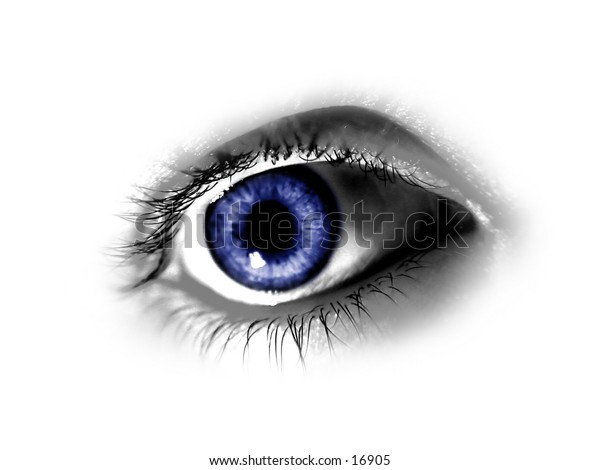 Blue Eye isolated on white background