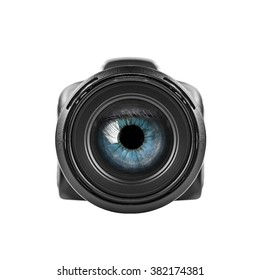 Blue eye looking through unbranded digital camera lens. Isolated over white.