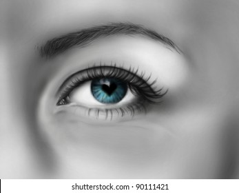 Blue EYE with pupil like heart / Realistic sketch on tablet