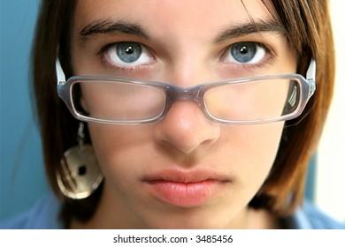 Blue Eyed Girl in Glasses