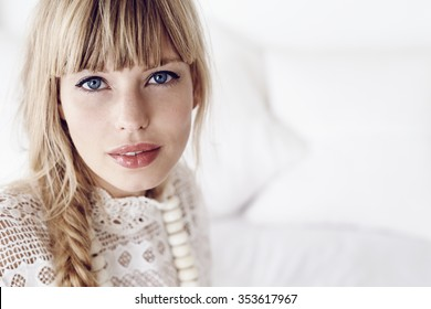 Blue eyed lady looking at camera