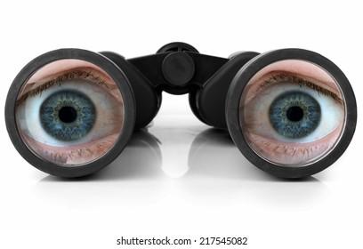 Blue eyes looking through a pair of new binoculars
