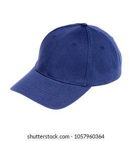 blue fabric hat isolated on white