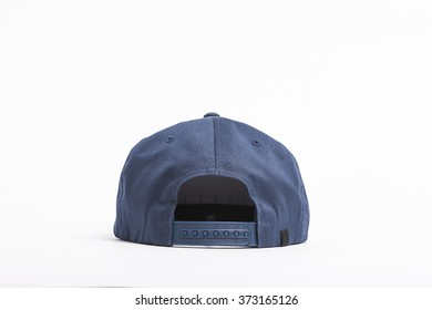 710ccba97370f3 A blue fabric hat(cap) with solid back side view for hip hop on