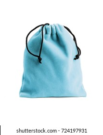 Blue Fabric Pouch Bag on White Background