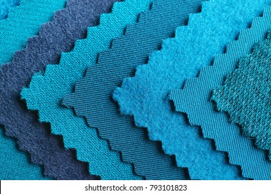 Blue fabric samples, closeup