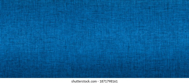 Blue fabric texture, indigo cloth surface banner background with copy space