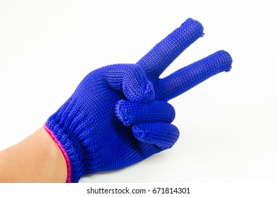 Blue fabric work glove two-fingers on white background