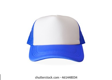 Blue fashion cap on isolated background. Sun protection sport hat for your brand and design.