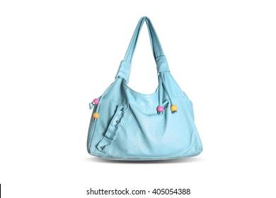 blue fashion female shoulder bag on white background