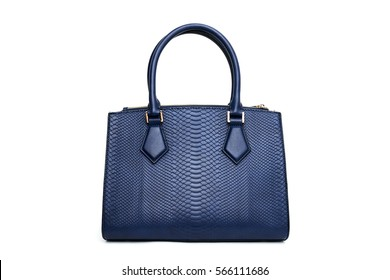 Blue fashion purse handbag on white background isolated