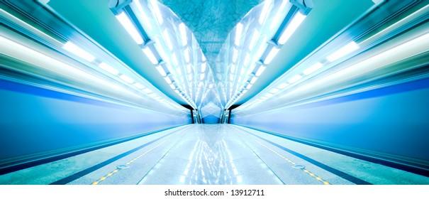 Blue fast train stay at hall platform