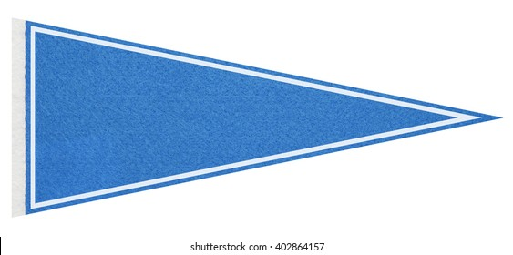 Blue felt pennant on a white background