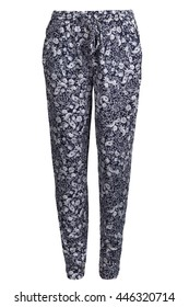 Blue female pants with pattern