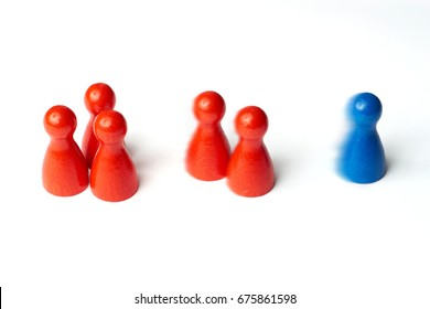 Blue figure first, game pawns with motion blur. Concept for motivation, sport, win, lose or leadership. Isolated.