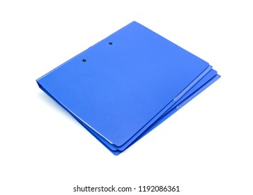 Blue file folder with documents and documents. retention of contracts. isolated white