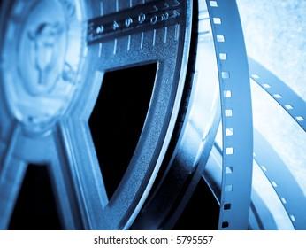 Blue Film reels closeup. Movie industry concept