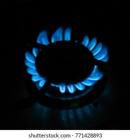 Blue fire of a gas cooker on a black background.