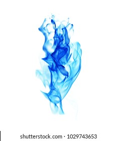 Blue fire on a white background.