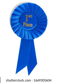 A blue first place ribbon on white background