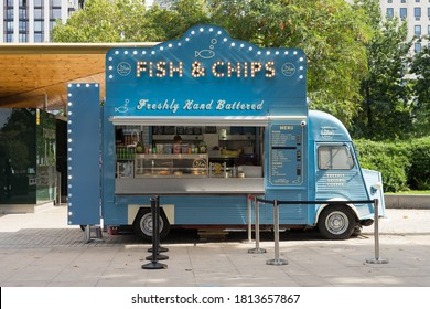 Blue fish and chip takeaway van on the Southbank of the River Thames. London - 12th September 2020