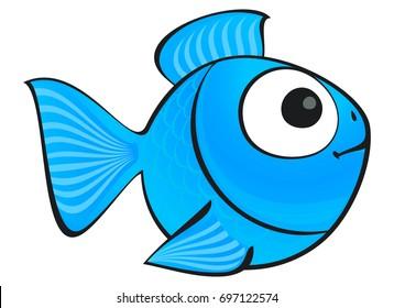 Blue fish isolated. Aquarium fish silhouette illustration. Colorful cartoon flat aquarium fish icon for your design. Isolated illustration