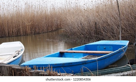 blue fishing boat anchored on a lake near reeds, Rust Burgenland