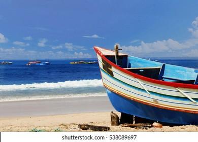 Blue fishing boat at Goa beach