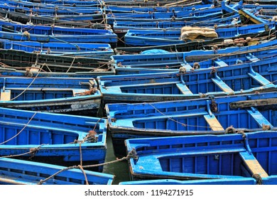 Blue fishing boats, Essaouira, Morocco, North Africa