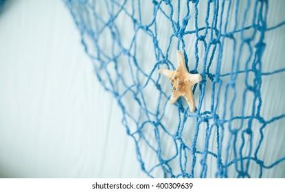 Blue fishing net.