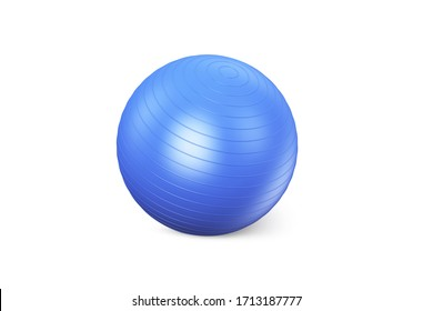 Blue fitness ball isolated on white background. Pilates Blue Ball render. Fitball Model