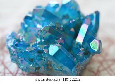 Blue Flame Aura Quartz Cluster! Beautiful light airy blue titanium druzy quartz cluster. Titanium Bismuth silicon cluster, Bright summer time colors, beautiful aqua blue