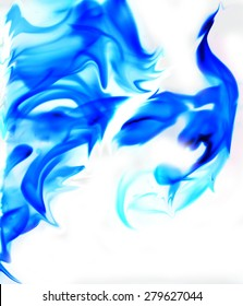 blue flame fire on a white background