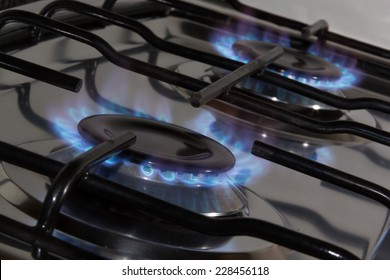 blue flame from gas range burners