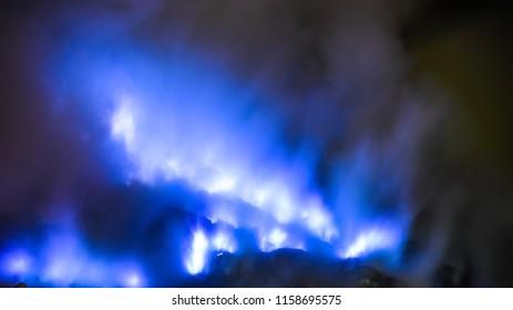 blue flame of Ijen in the Banyuwangi Regency of East Java, Indonesia.