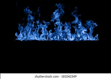 Blue flame isolated on black background