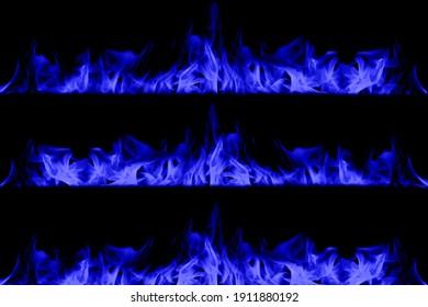 Blue flame on black background