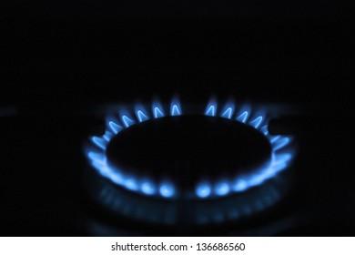 blue flame on a cooker burner
