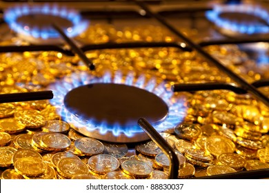 Blue flames of natural gas burning from a gas stove on a background of the coins.