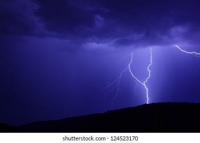 blue flash in the dark night